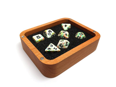 Cherry Wood Dice Case - Raven Design