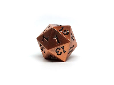 Legendary Copper D20 Dice - Metal Single 20 Sided Dice