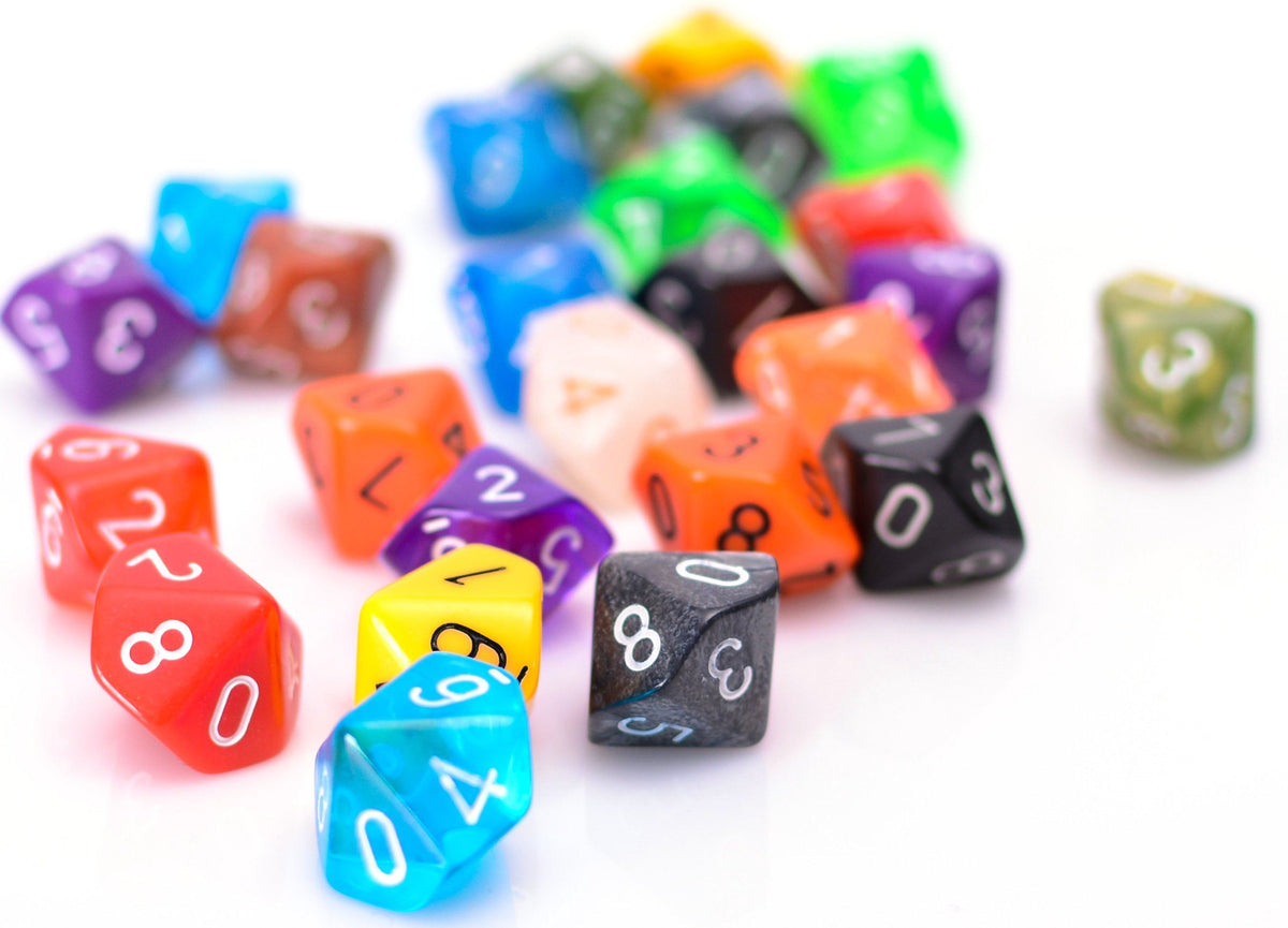 Bulk 10 Sided Dice | 25 Random D10s | Assorted Colors