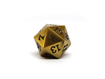 Legendary Gold D20 Dice - Metal Single 20 Sided Dice