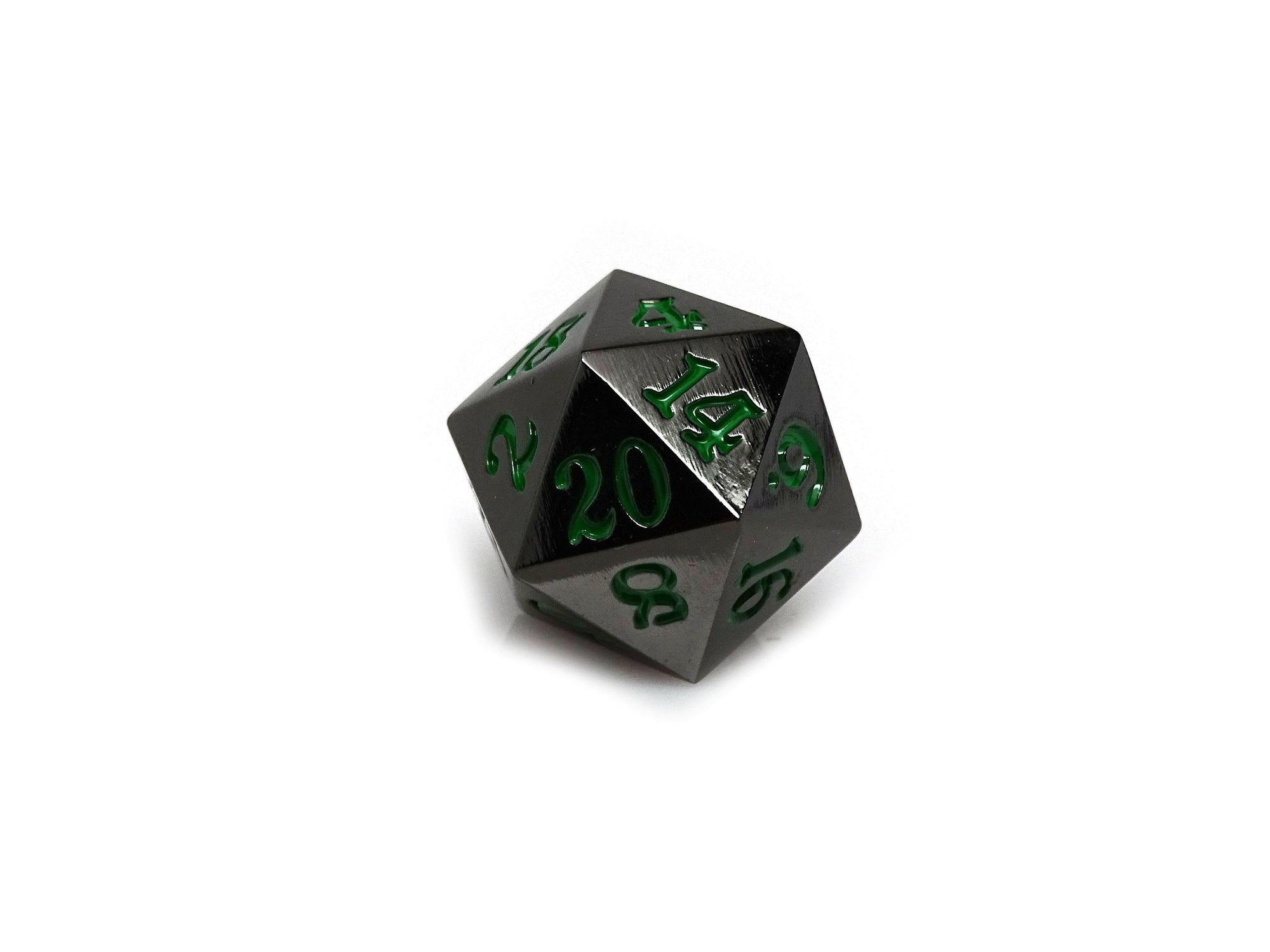 Gun Metal D20 - Signature Font -  Green