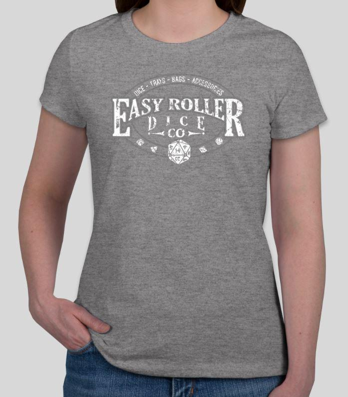 Ladies T-Shirt - Grey with Easy Roller Dice Company logo