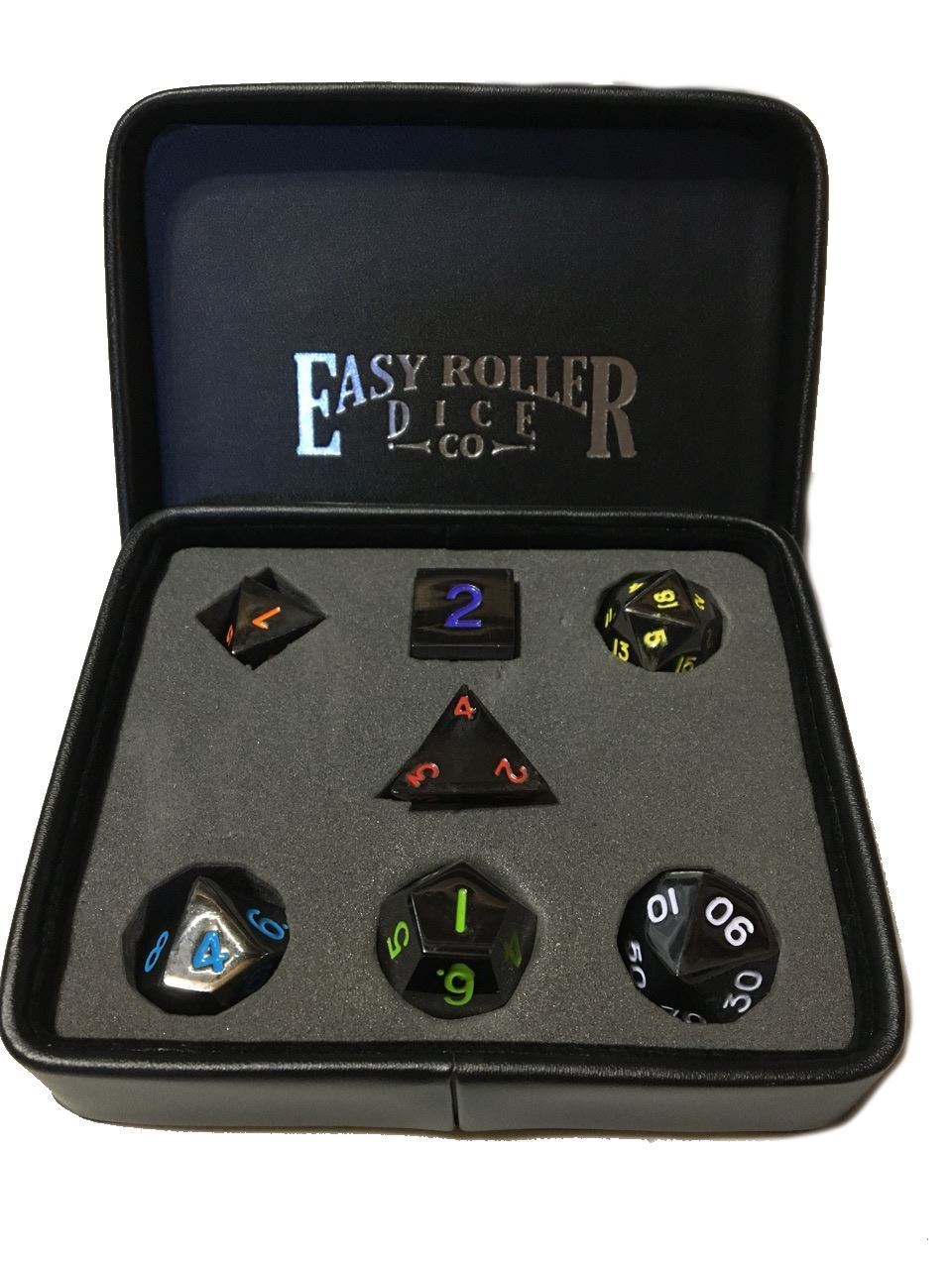 Gun Metal Polyhedral Dice Series: Multi Color 7 Piece Set With Display Case