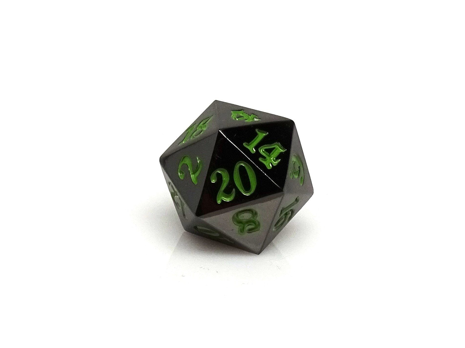 Gun Metal D20 - Signature Font -  Serpent's Blood