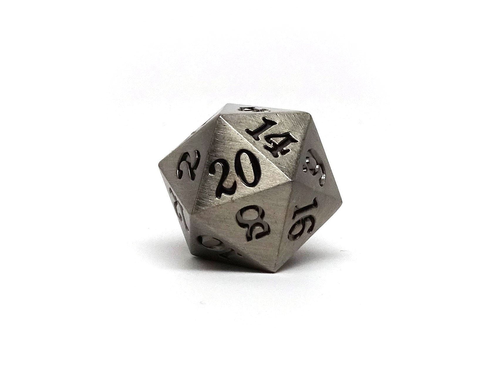 Legendary Silver D20 Dice - Metal Single 20 Sided Dice