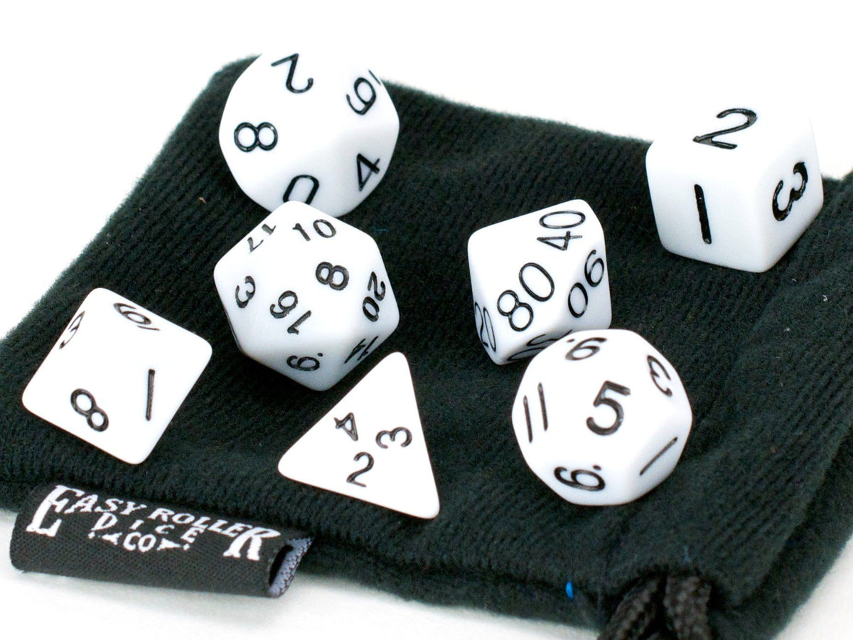 White Opaque Dice - 7 Piece Set With Bag