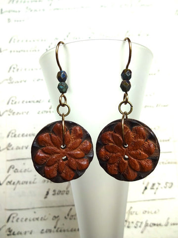 Carved Wood Vintage Button Earrings, Flower Button Earrings, Handmade Rustic Earrings