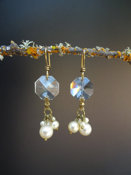 Vintage Crystal & Pearl Earrings, Chandelier Crystal, Old Faux Pearl Cluster Drops, Antique Brass Ear Wires, Gift Earrings CPE121