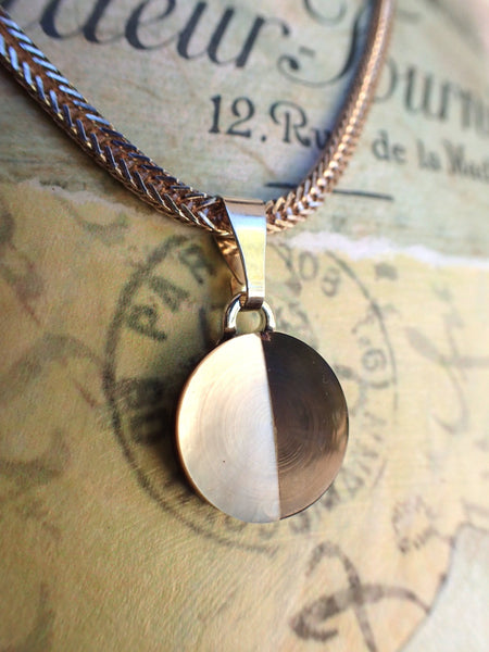 "Vintage White & Dark Mother of Pearl Button Pendant Necklace, Half Moon Necklace, 18"" Chain, CGN259"