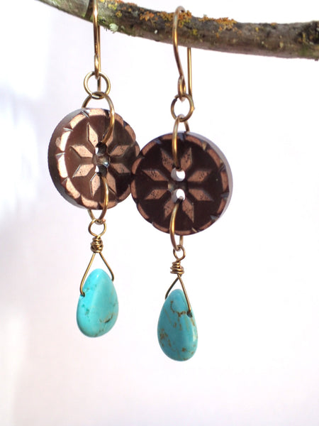 Vintage Button Earrings, Brown Flower Buttons, Turquoise Tear Drop Beads, Hand Made Ear Wires, Spark Joy, PBE110