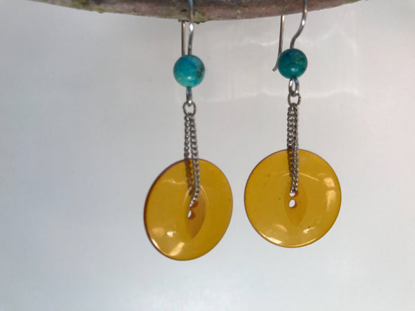 Amber Bakelite Button Earrings, Vintage Buttons, Turquoise Beads, Silver Chain, Hand Made French Hook Ear Wires, Dangle Drop Earrings BTE350