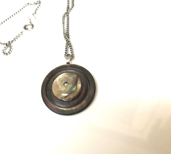 Vintage Button Pendant Necklace, Carved Shell MOP Button, Tunic Pendant, Abalone Button, Antique Silver Chain, MPN378
