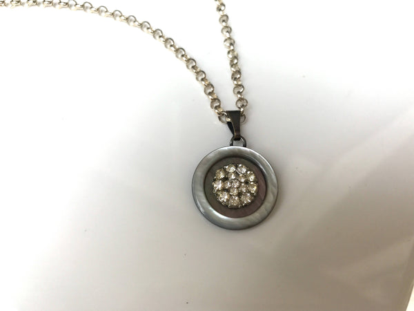 "Smoky Iridescent Mother of Pearl and Rhinestone Button Pendant Necklace, MOP Button, Vintage Abalone, 16"" Sterling Silver Rolo Chain, MPN385"