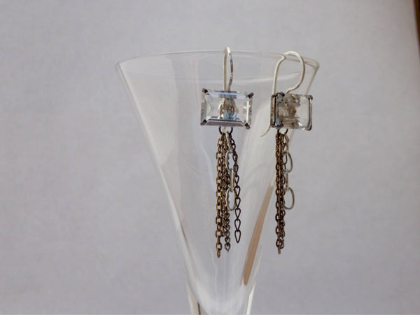 Vintage Cut Clear Crystal Button Earrings, Chain Tassels, Oxidized Silver Settings, Mixed Metal Chains, Antique Buttons, Upcycled, CGE366