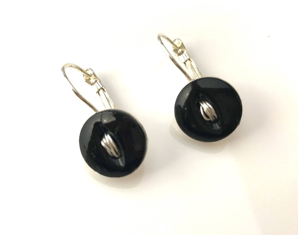 "Vintage Black China Button Earrings, Silver Wire ""Thread"", Silver Filled Lever Back Ear Wires, Simple Button Earring, Antique Button, BCE389"