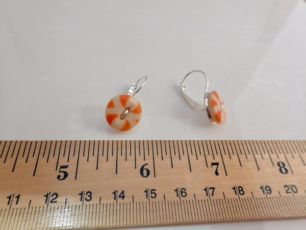 "Antique Ivory Orange China Stencil Button Earrings, Silver Wire ""Thread"", Silver Lever Back Ear Wires, Vintage Buttons, Halloween,  OCE391"