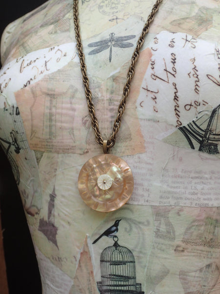 Vintage Button Pendant Necklace, Carved Peach MOP Button, Tunic Pendant, Mother of Pearl Button, Antique Brass Rope Chain, MPN377