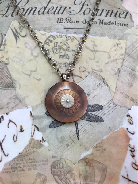 "Vintage Layered Button Pendant Necklace, Carved Copper Shell MOP Button, White Mother of Pearl Button, 20"" Silver Oval Cable Chain, MPN384"