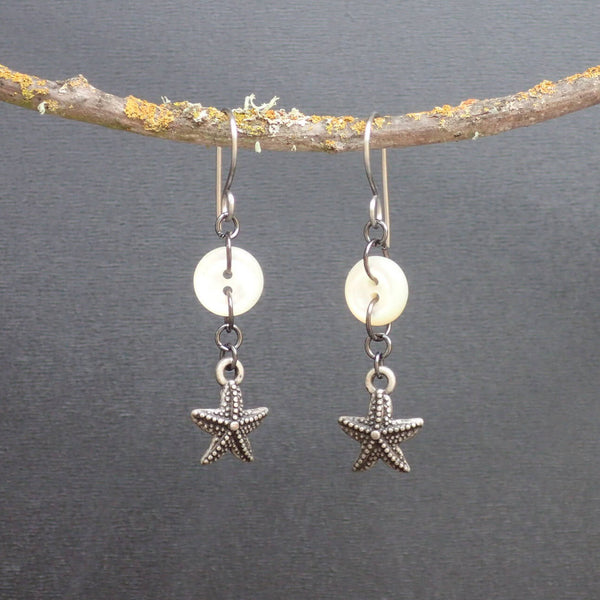 Antique Mother of Pearl Button Earrings, Pewter Starfish Charms, Stainless Steel Handmade Wires, Beach Earring, Eclectic Pretties, MPE388