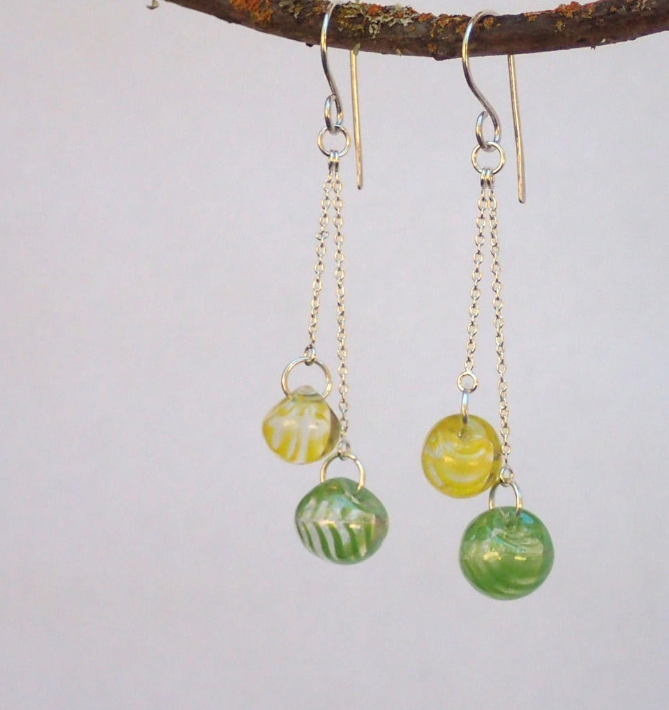 Vintage Clear Glass Button Earrings, Yellow & Green Swirl Round Ball Buttons, Sterling Silver Chains, Silver Filled Ear Wires CGE394