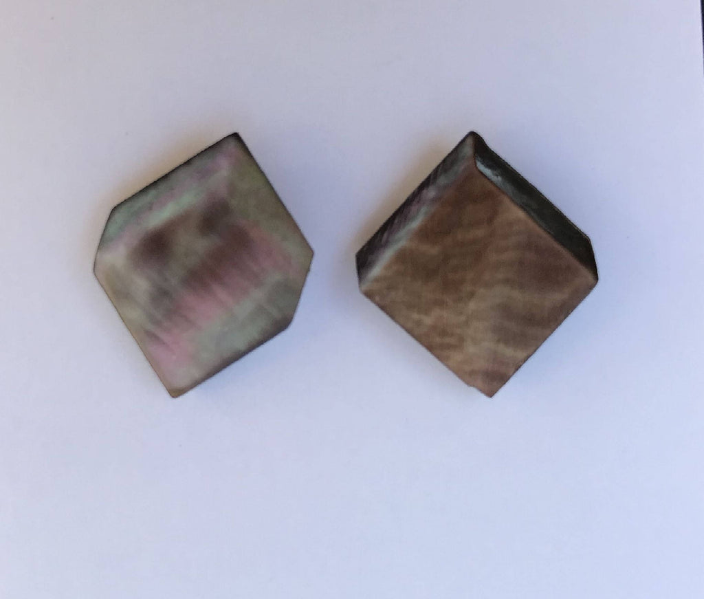 Vintage Cube MOP Button Earrings, Dark Smoky Mother of Pearl, MOP Stud Earrings, Faux Gauge Earrings, Post Earrings, MPE397