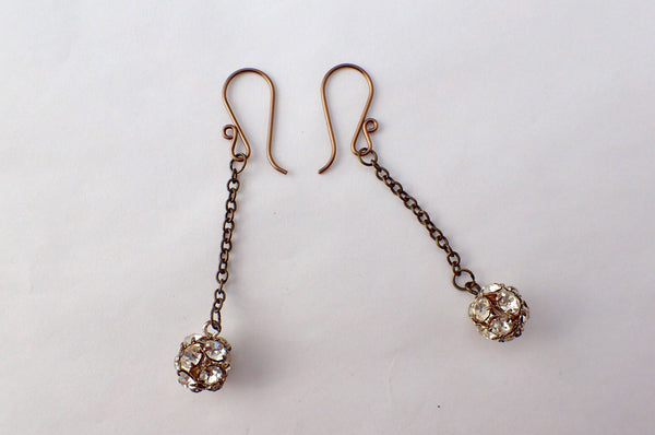 Antique Rhinestone Button Earrings, Vintage Rhinestone Cluster Buttons, Recycled Bronze Chain, French Hook Ear Wires, Dangle Drop, RBE408