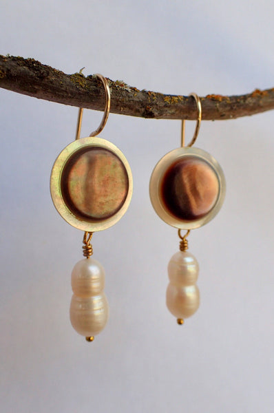 Vintage Mother of Pearl Button Drop Earrings, Baroque Pearl Earrings, Gold Filled Ear Wires, Antique Buttons, Gift for Her MPE412