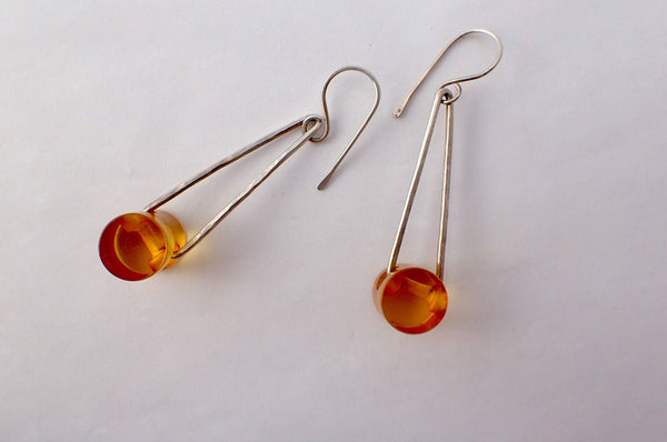 Apple Juice Bakelite Barrel Button Earrings, Vintage Buttons, Hammered Silver, Hand Made French Hook Ear Wires, Dangle Drop Earrings ABE406