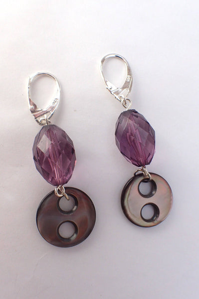 Smoky Mother of Pearl Button Drop Earrings, Ultra Violet Beads, Silver Lever Back Ear Wires, Vintage Buttons, Antique Buttons MPE408
