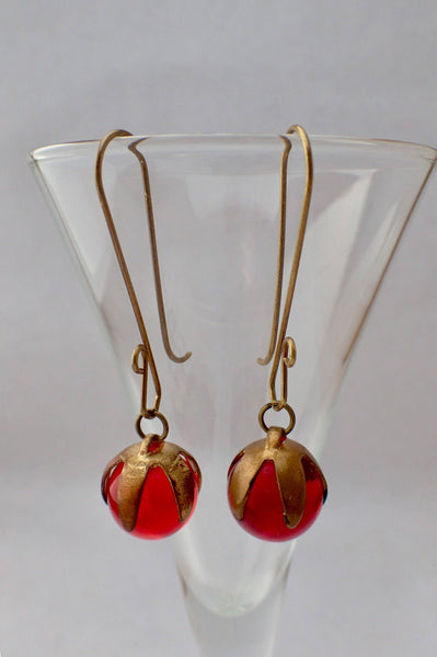 Antique Red Globe Round Glass Button Earrings, Brass Petal Caps, Handmade Long Brass Ear Wires, Christmas Earrings, Upcycled Jewelry, RGE423