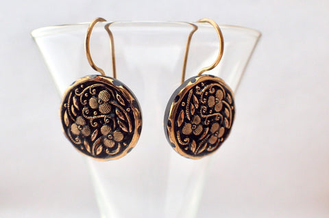Antique Black Glass Button Earrings, Gold Luster Floral, Gold Hand Made Ear Wire, Antique Button Jewelry, Upcycled Repurposed Buttons BGE426