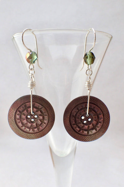 Vintage Carved Mother of Pearl Button Earrings, MOP Buttons, Green Iridescent Beads, Hand Made Silver French Hook Ear Wires MPE421