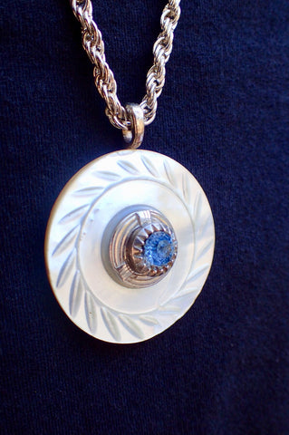 "Blue Rhinestone Button Pendant Necklace, Handmade Vintage White MOP Mother of Pearl Button, 30"" Sterling Silver Chain; Art Deco RMN429"