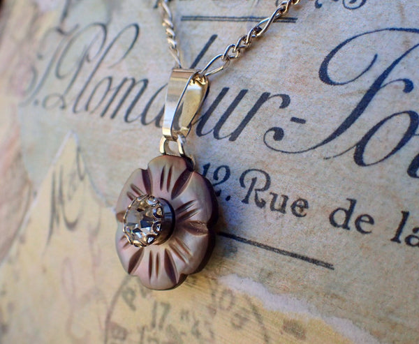 "Vintage Carved MOP Flower Button Pendant Necklace, Mother of Pearl, 16"" Silver Chain, MPN430"