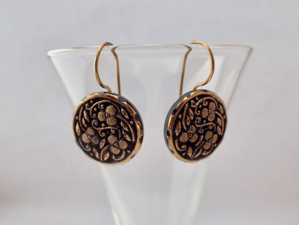 Antique Black Glass Button Earrings, Gold Luster Floral, Gold Ear Wire, Button Jewelry BGE426
