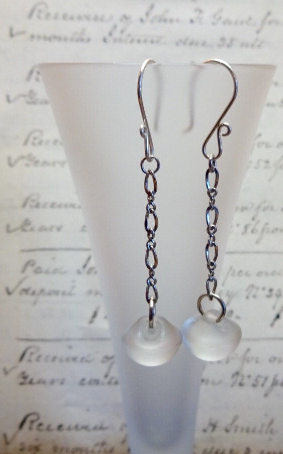 Vintage Glass Button Earrings, Translucent Frosted Round Glass Buttons, Twist Link Chain, Silver Handmade Ear Wires, FGE243