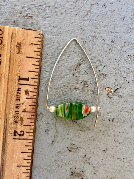 Upcycled Green Millefiori Glass Bead Earrings, Hand Made Silver Arched Triangle Ear Wires, Minimalist, Pearl Accents, GGE442