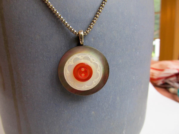 "Vintage Carved White Mother of Pearl & Abalone Stacked Button Pendant, Red Button, Handmade Necklace, 18"" Sterling Silver Chain MPN168"