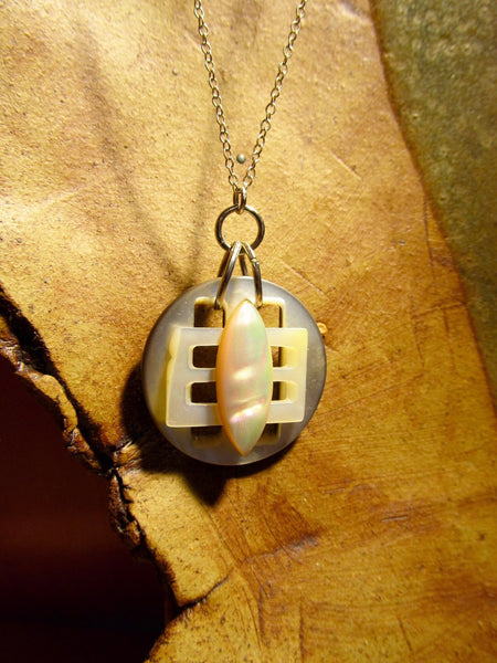 Vintage Mother of Pearl Button and Buckle Pendant Necklace on Sterling Silver Chain