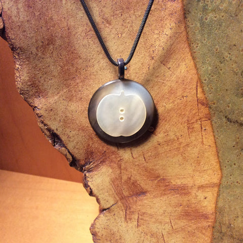 Apple Button Pendant Necklace, Handmade, Mother of Pearl, Vintage Sterling Silver Chain