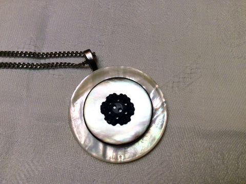 Mother of Pearl Button Pendant, White MOP Buttons, Black White Necklace, Oxidized Silver Chain