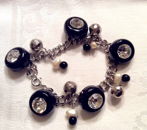 Rhinestone Button Charm Bracelet, Vintage Black Buttons, Vintage Pearl and Black Bead Charms
