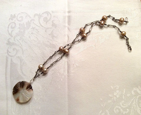 Mother of Pearl Button Necklace, Vintage MOP Flower Pendant, Taupe Necklace, Sterling Silver Chain