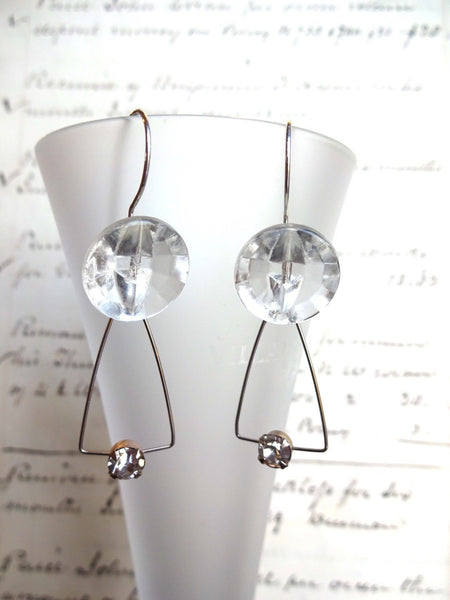 Vintage Clear Glass Button Earrings, Glass Antique Buttons, Rhinestone Earrings