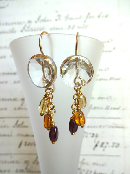Vintage Clear Glass Button Earrings, Gold Luster, German Beads, Gold Filled Ear Wires, Boho, Antique