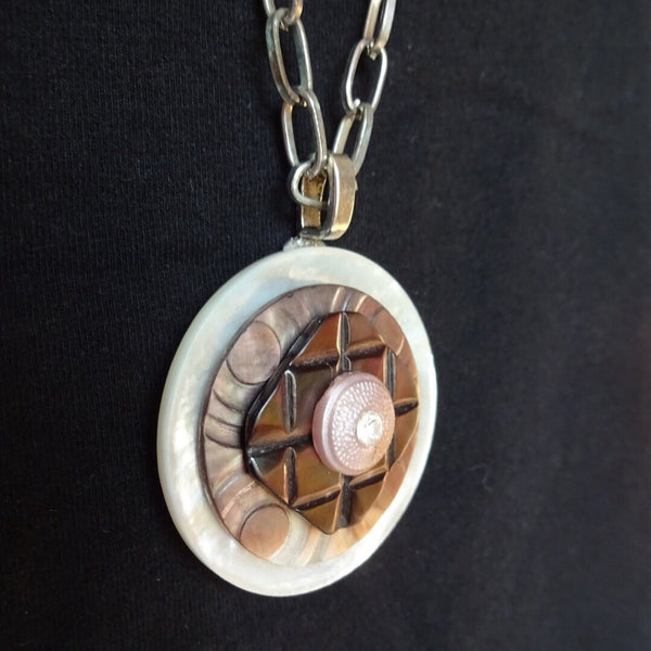 "Vintage MOP Button Pendant Necklace, Mother of Pearl, 35"" Silver Chain, Pink Rhinestone, MPN157"