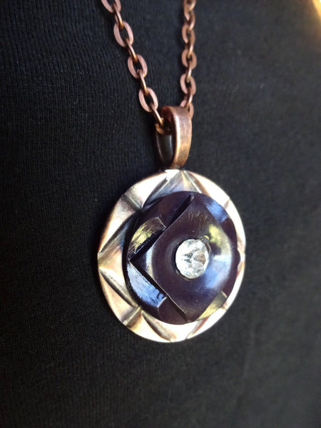 "Vintage Carved MOP Button Pendant Necklace, Mother of Pearl, Rhinestone Button, 20"" Copper Chain"