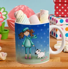 "Taza de cerámica personalizada con niña y perrito y mensaje ""Paris is always a good idea"""