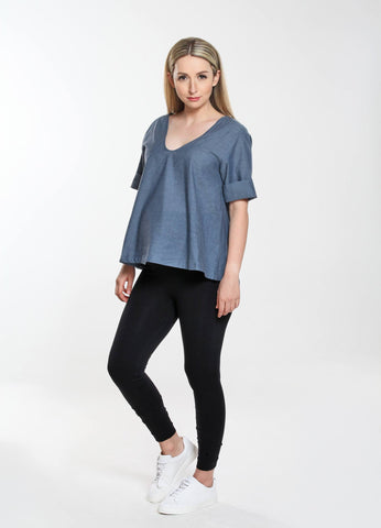 Three Quarter Sleeve Shirred Top