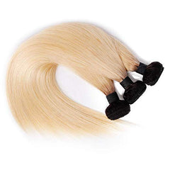 LETMESHINE #1B/613 BLEACH BLOND OMBRE COLOR STRAIGHT VIRGIN HUMAN HAIR WEAVE SINGLE BUNDLE - LetMeShine Hair
